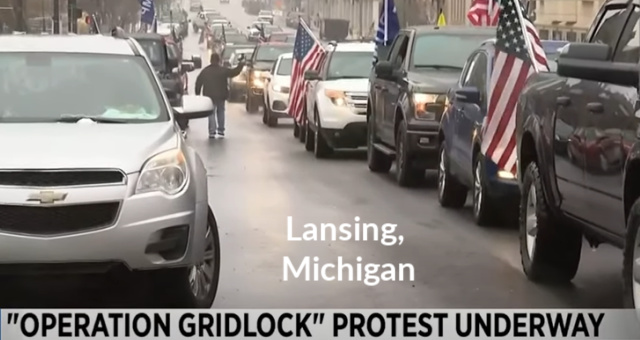 Michigan Residents Create Traffic Grid-Locks In Protest Of Radical Governor Whitmer's Lockdown Measures
