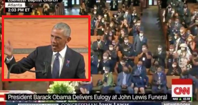 "Barack Obama Turns John Lewis Funeral Into DNC Convention…Angrily Accuses ""Powers To Be"" Of Targeting Minorities…Pushes For Mail-In Ballots…Gets Standing Ovation [VIDEO]"